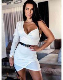 Бяла дамска рокля с един ръкав - код - 803