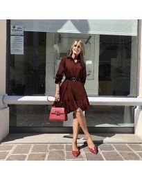 Атрактивна свободна рокля в цвят бордо - код 960