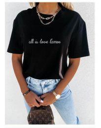 Дамска тениска с принт в черно - код 36755