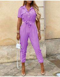 Стилен дамски гащеризон в цвят  лилаво - код 528
