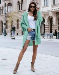 Дамска дълга плетена жилетка с качулка в цвят мента - код 0577