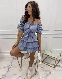 Кокетна разкроена рокля в тъмносиньо - код 7874