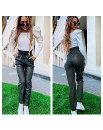 Маслено зелен  дамски панталон с висока талия  - код 9199
