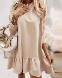 Свободна дамска рокля в бежово - код 9376