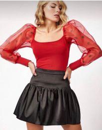 Блуза с ефектни ръкави в червено - код 11320