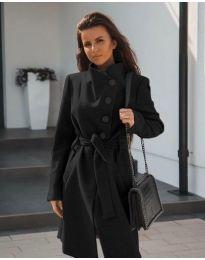 Черно дамско палто с колан - код 642