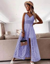 Дамска рокля с дантела в светлолилаво - код 2704