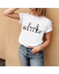 Тениска в бяло с принт семейство - код 384
