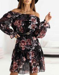 Дамска рокля с ефектен десен с колан - код 5179 - 1