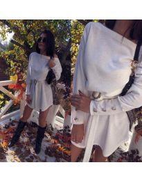 Свободна рокля с паднало деколте в бяло - код 987