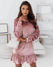 Атрактивна дамска рокля в цвят пудра -  код 0424