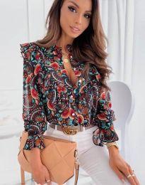 Дамска риза в черно с флорален десен - код 1417