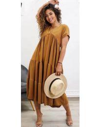 Феерична рокля в кафяво - код 4475