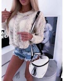 Ефектна плетена блуза в бежово - код 363