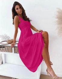 Дълга дамска рокля в цвят циклама - код 4807