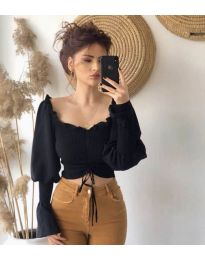 Блуза с ефектни ръкави в черно - код 896