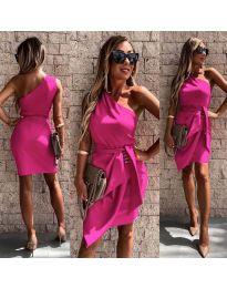 Асиметрична рокля с колан в циклама - код 2457