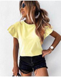 Изчистена дамска тениска в жълто - код 520