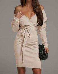 Дамска рокля в бежово - код 4765