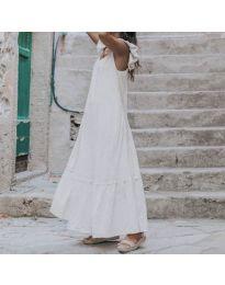 Свободна дълга рокля в бяло - код 9036