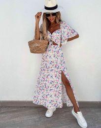 Дамска рокля в бяло с флорален десен - код 6798