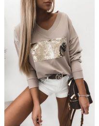 Атрактивна бежова блуза с пайети - код 4150