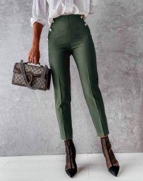 Елегантен дамски панталон в масленозелено - код 4895