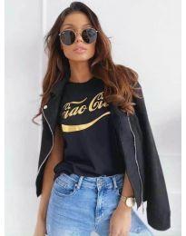 Черна дамска тениска със златист надпис - код 3659