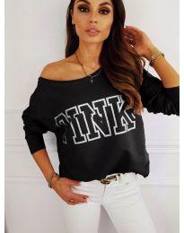 Блуза с принт в черно - код 5464