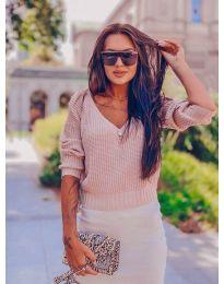 Дамски пуловер в цвят пудра - код 1099