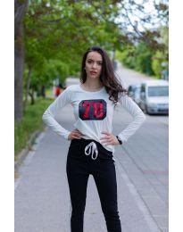Тениска с дълъг ръкав в бяло - код  987