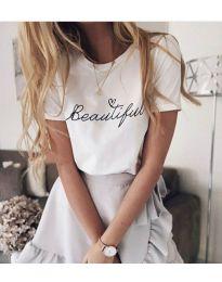 Тениска с принт в бял цвят - код 980