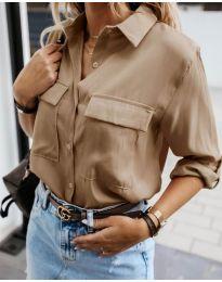 Изчистена дамска риза в кафяво - код 6148