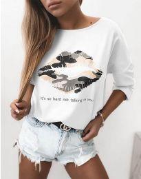 Атрактивна дамска блуза в бяло с принт - код 5263
