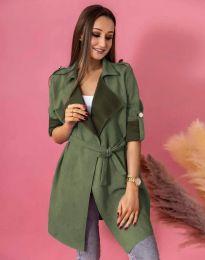 Атрактивно дълго дамско сако велур с колан в масленозелено - код 7893