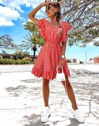 Дамска рокля на каре в цвят корал - код 2654
