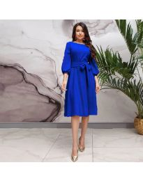 Елегантна рокля в тъмно синьо - код 4571