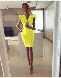 Елегантна дамска рокля в жълто - код 009