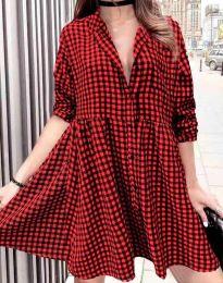 Дамска рокля на каре в червено - код 2401