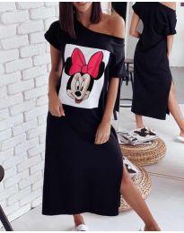 Свободна рокля в черно с принт - код 6656