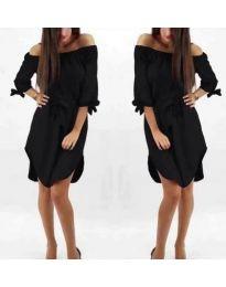 Асиметрична рокля с паднало деколте в черно - код 066