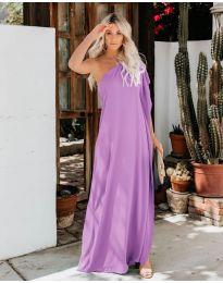 Дълга рокля с цепка в лилаво - код 6681