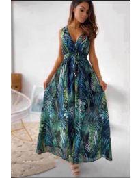 Дълга рокля с атрактивен десен в зелено - код 736