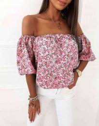 Дамска блуза с голи рамене в розово - код 2708