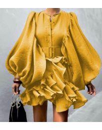 Кокетна рокля в жълто - код 2819