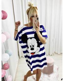 Свободна рокля на синьо райе с Мики Маус - код 517