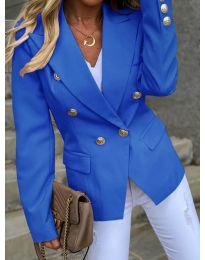 Вталено дамско сако с копчета в синьо - код 426