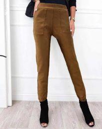 Дамски спортно-елегантен панталон в кафяво - код 2836