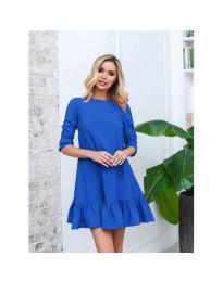 Свободна изчистена рокля в син цвят - код 412
