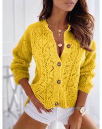 Къса дамска жилетка с копчета в жълто - код 6533